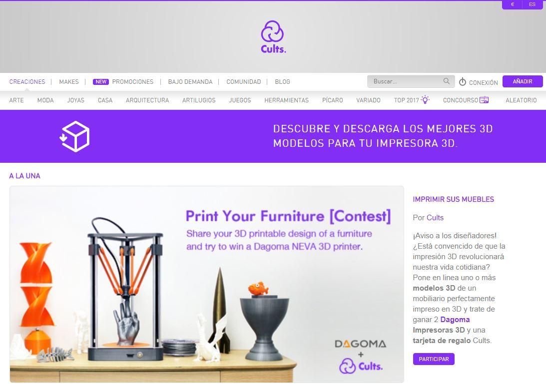 Repositorio archivos STL impresión 3D Web Cults