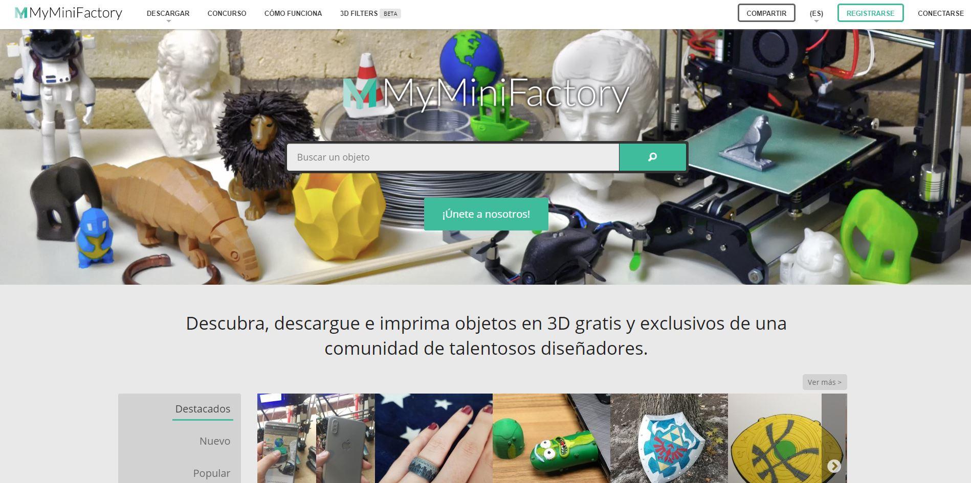 Repositorio archivos STL impresión 3D MiniFactory