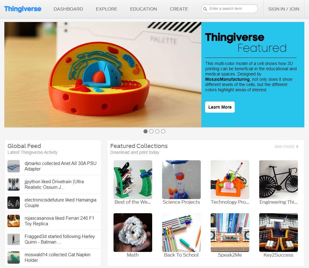 Repositorio archivos STL impresión 3D Thingiverse