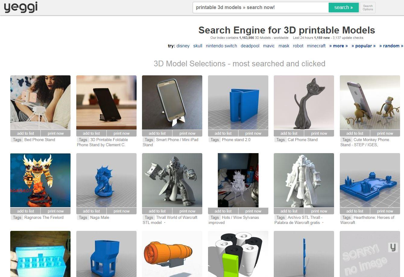 Repositorio archivos STL impresión 3D Yeggi