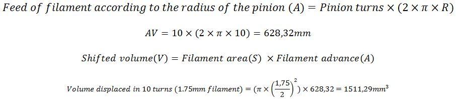 Calculation advance filament 1,75mm