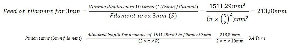 Calculation advance filament 3mm