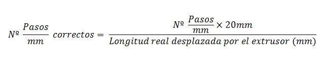 Fórmula Pasos/mm del extrusor