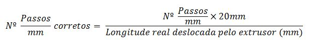 Fórmula Passos/mm do extrusor