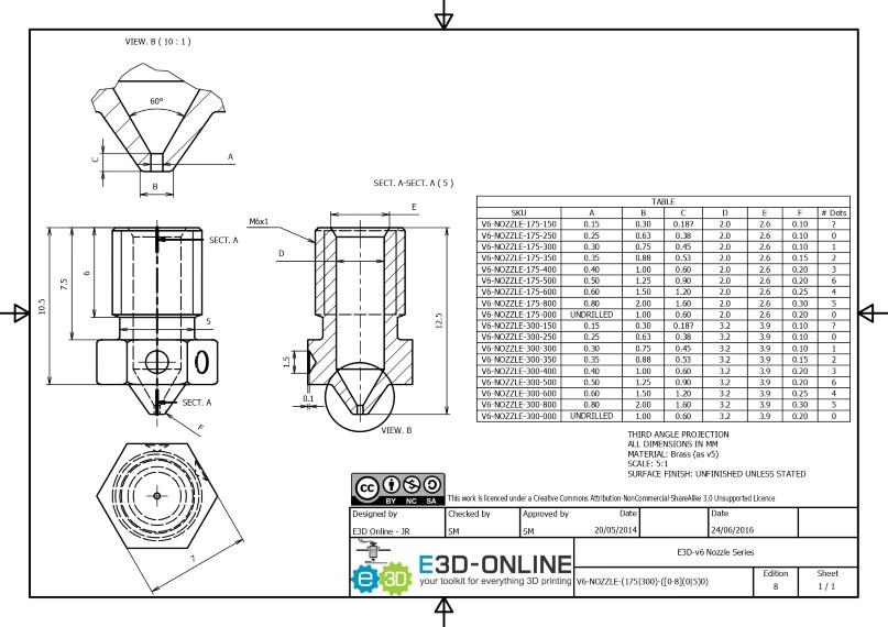 Dessin technique nozzle v6 de E3D-Online