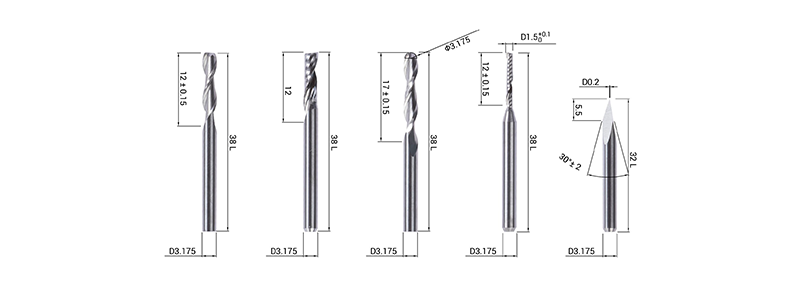 Drill bits included in the pack and dimensions