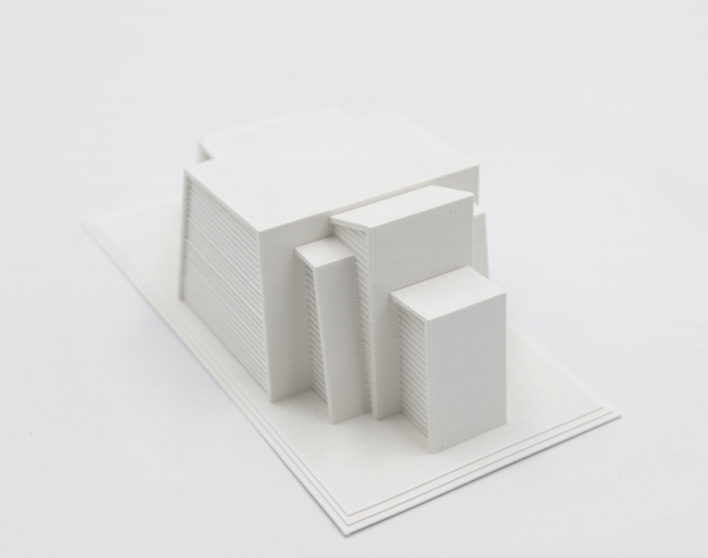 Maqueta de arquitectura impresa con PLA Textura™ blanco.