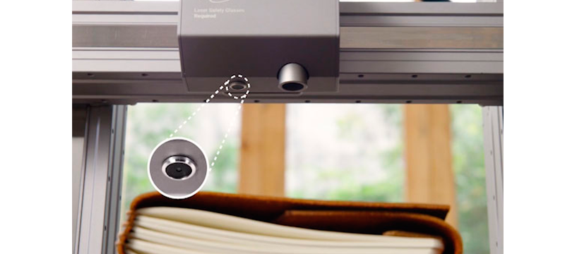 Camera integrated in the laser cutting and engraving module.