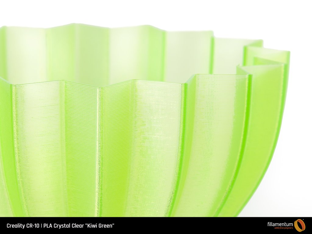 Part printed withCrystal Clear Kiwi Green PLA filament