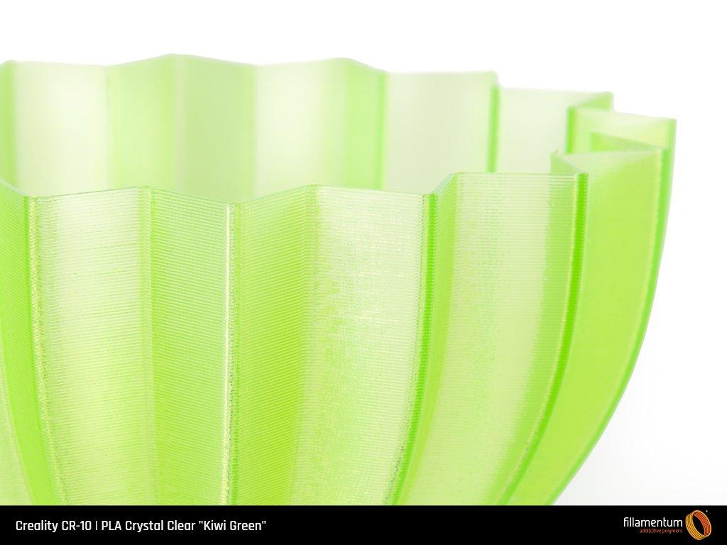 Pieza impresa con filamento PLA Premium translúcido verde kiwi.