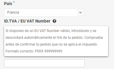 Introducir EU VAT Number