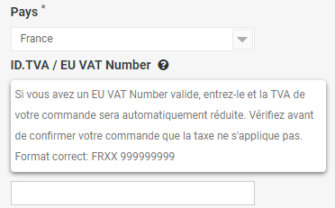 Entrez le numéro de TVA de l'UE
